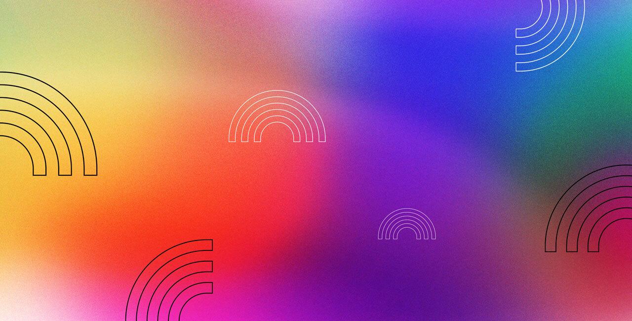 a rainbow spectrum with a rainbow icon pattern overlaid