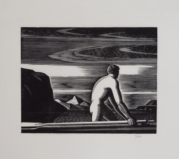 Nude man wades in water