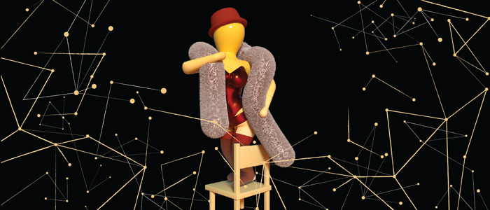 a yellow 3D animated figure stands on a chair with a fuzzy scarf