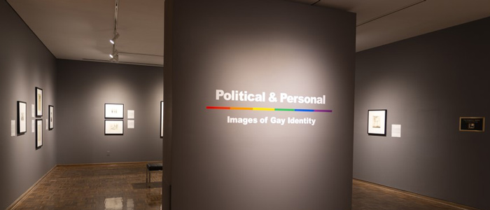 Gallery space with title Political and Personal on the wall