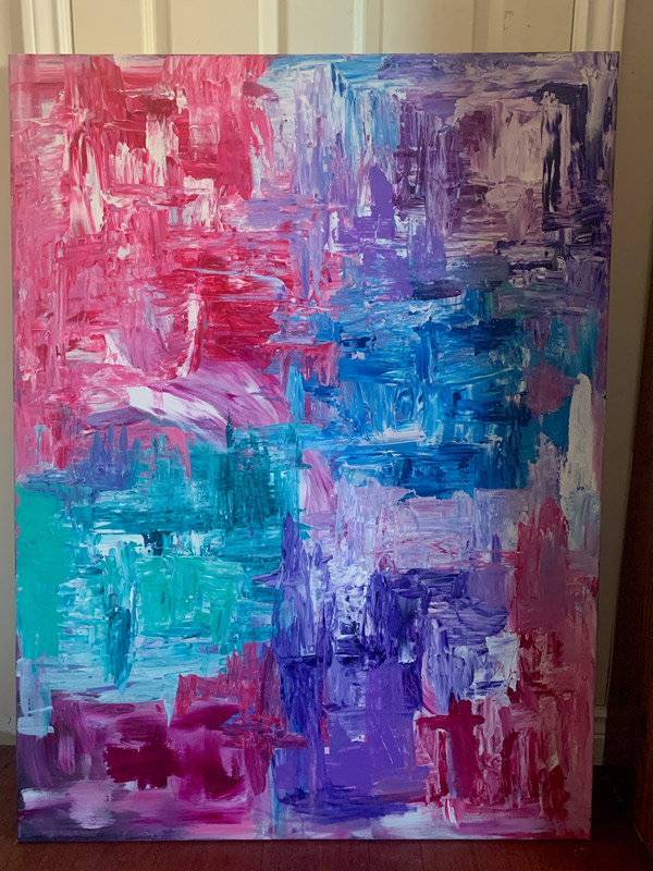 Painting with mixtures of blue and pink